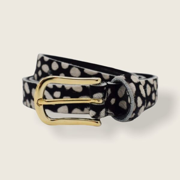 BLACK CHEETAH BELT | GOLD